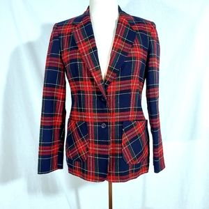 Vintage 80s Wool Red Tartan Plaid Blazer Jacket